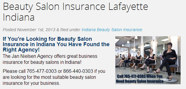 Beauty Salon Insurance Lafayette Indiana